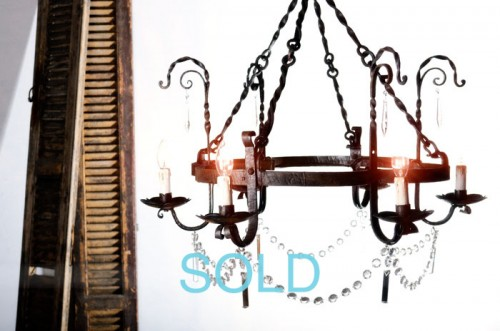 FRENCH METAL HANDFORGED CHANDELIER