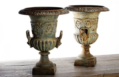 PAIR FRENCH PAINTED URNS 19th C.