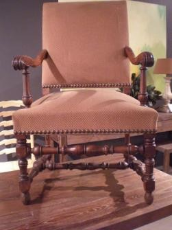 19TH C FRENCH WALNUT HIGH BACK ARMCHAIR