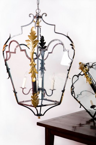 ORNATE METAL HANGING LANTERN WITH GILDED LEAVES