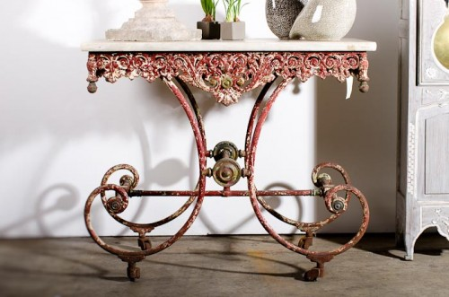 FRENCH BAKERS TABLE WITH MARBLE SLAB c. 1870