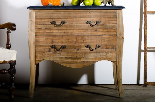 DRIFTWOOD OAK COMMODE WITH SLATE TOP