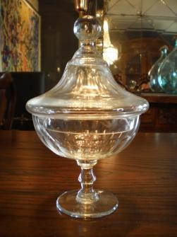 FRENCH GLASS LIDDED THUMBPRINT JAR