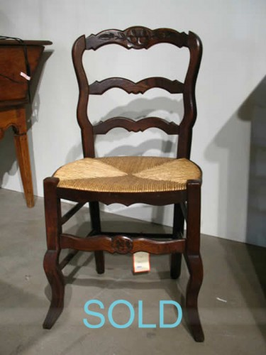 SET OF SIX FRENCH PROVINCIAL OAK LADDERBACK CHAIRS