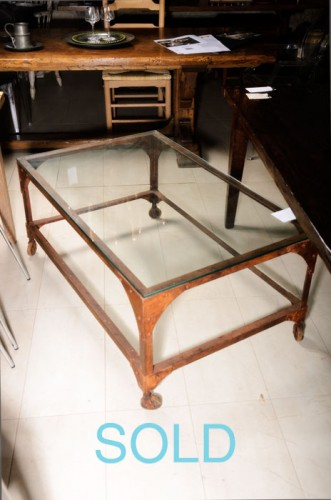 RECTANGLE INDUSTRIAL METAL COFFEE TABLE WITH GLASS TOP