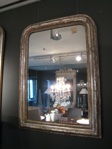 SMALL NAPOLEON III SILVER GILT MIRROR