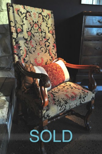 FRENCH OAK HIGHBACK LOUIS XV STYLE FAUTEUIL