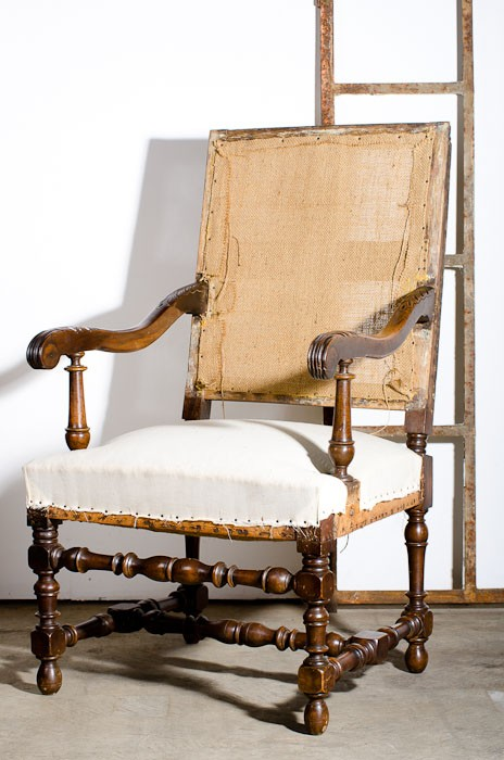 pair walnut fauteuil louis xiii style c 1810. Black Bedroom Furniture Sets. Home Design Ideas