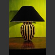 'ZEBRA' STRIPED LAMPBASE AND SHADE