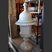 ITALIAN MARBLE LIDDED URN ON PEDESTAL