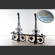 PAIR GRAND HANDWROUGHT ANDIRONS