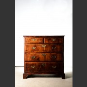 ENGLISH 18th C. YEW & WALNUT CHEST ON BRACKET FEET