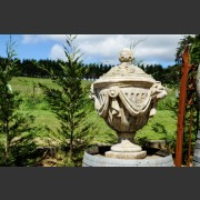 RECONSTITUTED STONE DRAPED URN WITH LID