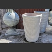 WHITE GLAZED & RIB COILED TALL CERAMIC POT