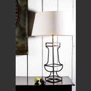 'PARIS' FRENCH METAL LAMP WITH LINEN SHADE