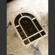 19th CENTURY FRENCH PAINTED WINDOW MIRROR