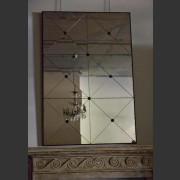 AGED DIAMOND PANED MIRROR