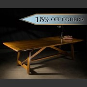 GERONDE FRENCH OAK FARMHOUSE TRESTLE TABLE
