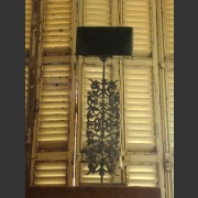 ORNATE METAL LAMP BASE WITH SHADE