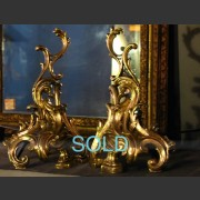 19th C. PAIR OF FRENCH BRONZE ROCOCCO CHENETTES