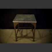 SMALL SQUARE INDUSTRIAL METAL COFFEE TABLE WITH SLATE TOP