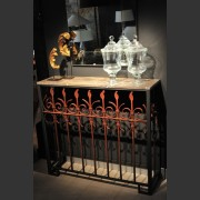 FRENCH FENCE CONVERSION CONSOLE WITH MARBLE TOP