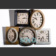 GROUPED FRENCH PAINTED INTERNATIONAL TIME CLOCKS