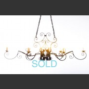 FRENCH FORGED METAL 10 ARM CHANDELIER DEEP BRONZE FINISH