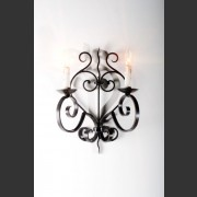 PAIR FRENCH FORGED WALL SCONCES DEEP BRONZE FINISH