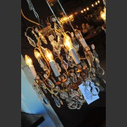 FRENCH SIX ARM BRONZE AND CRYSTAL CHANDELIER