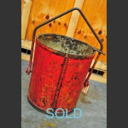 RED PAINTED FRENCH INDUSTRIAL METAL BUCKET