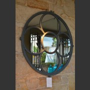 PAIR FRENCH ROUND CHURCH WINDOWS CONVERTED TO MIRRORS