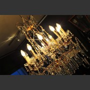 ITALIAN BRONZE AND CRYSTAL CHANDELIER