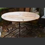 ROUND TEAK TOP METAL SCROLL-BASED TABLE
